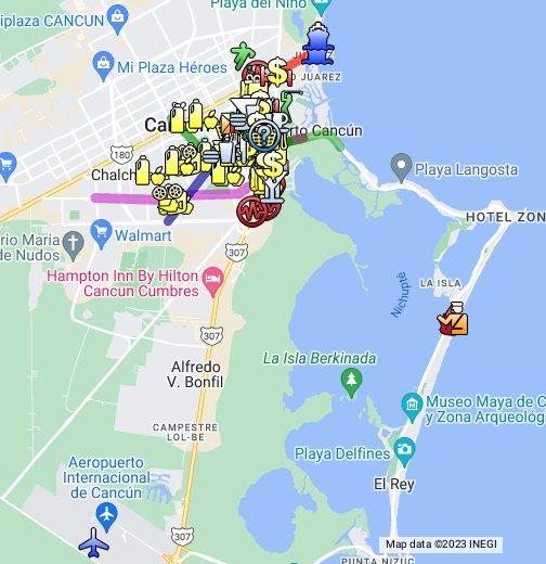 Cancun Map - Cancun hotel zone map