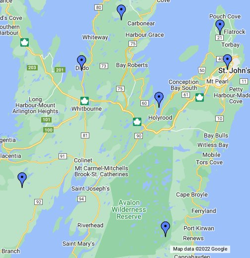 Map St John\'s Nl Avalon Peninsula.   Google My Maps Map St John\'s Nl