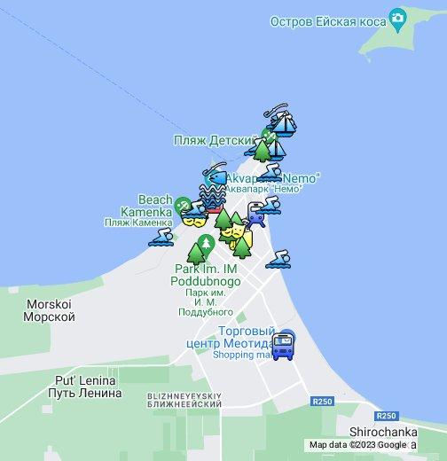 Карта города Ейска и пляжей