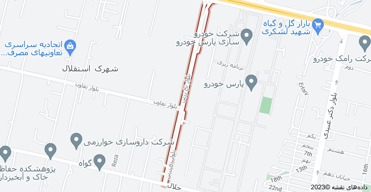 نقشه استان تهران، تهران، منطقه ۲۱، بلوار نخ زرین