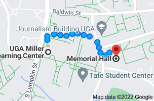Map from UGA Miller Learning Center, 48 Baxter St, Athens, GA 30602 to Memorial Hall, Athens, GA 30605