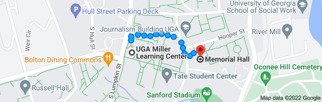 Map from UGA Miller Learning Center, 48 Baxter St, Athens, GA 30602 to Memorial Hall, Athens, GA 30605