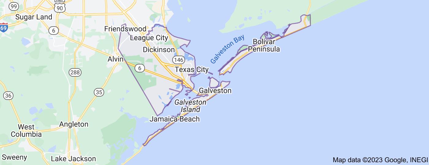 Location of Galveston County, Texas
