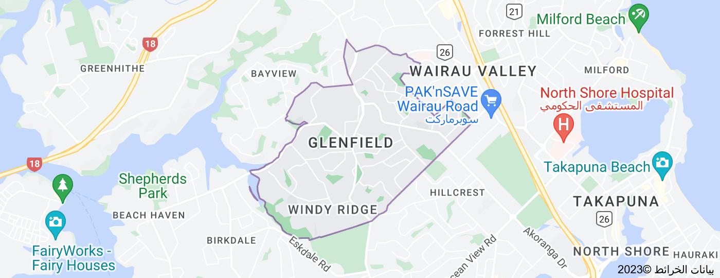 Location of Glenfield, New Zealand