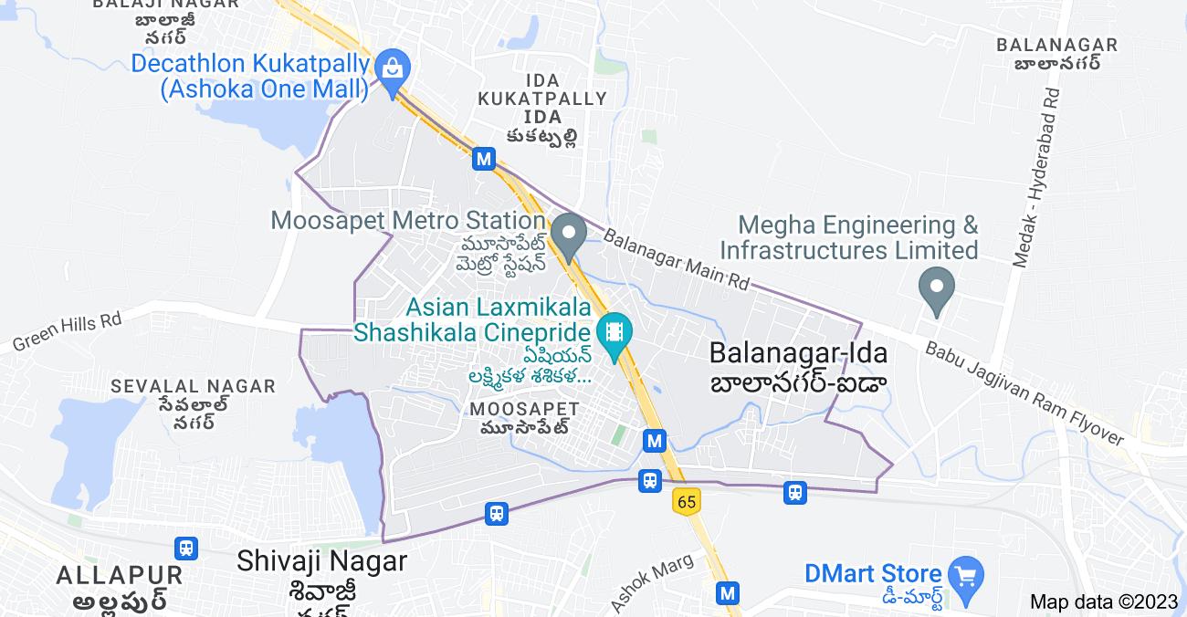 Map of Moosapet, Hyderabad, Telangana, India