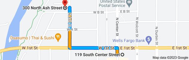 Map from 119 S Center St, Casper, WY 82601 to 300 N Ash St, Casper, WY 82601