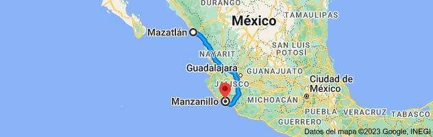 Mapa de Mazatlán, Sinaloa a Manzanillo, Colima