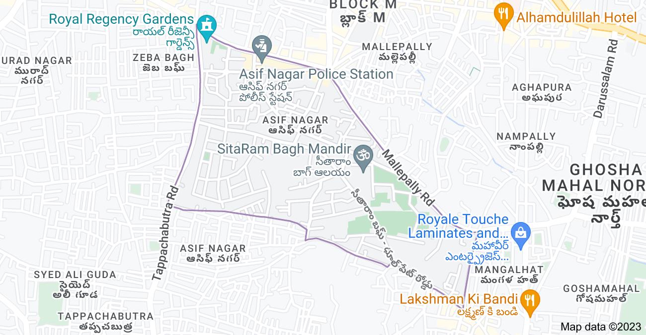 Map of Asif Nagar, Hyderabad, Telangana, India
