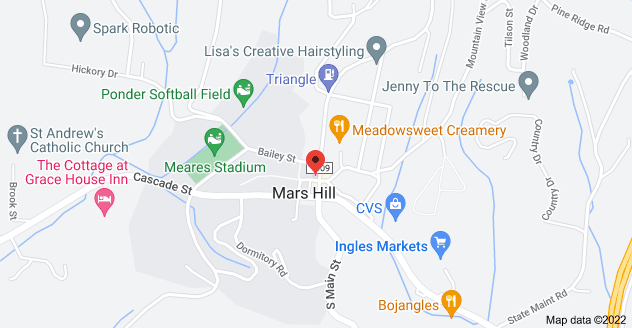 Map of 44 College St, Mars Hill, NC 28754
