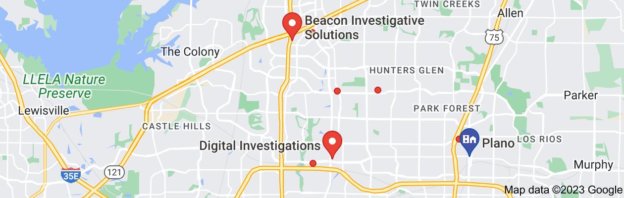 Map of private investigator corpus plano tx