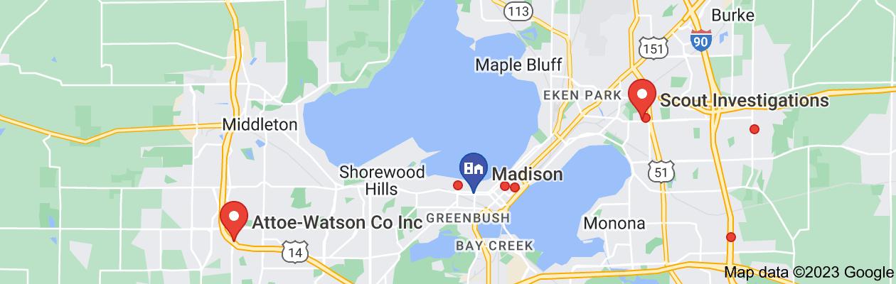 Map of private investigators in Madison Wisconsin