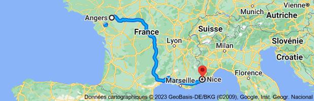 Carte depuis Angers pour Nice