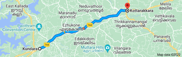Map from Kundara, Kerala, India to Kottarakkara, Kerala, India