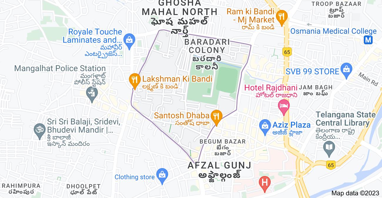 Map of Goshamahal, Nampally, Hyderabad, Telangana 500012, India
