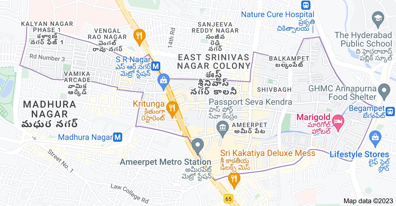 Map of Ameerpet, Hyderabad, Telangana, India