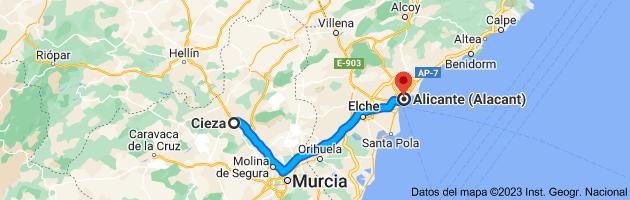 Mapa de Cieza, 30530, Murcia a Alicante (Alacant), Alicante