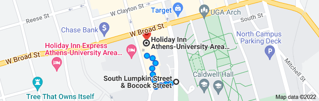 Map from S Lumpkin St, Athens, GA to Holiday Inn Athens-University Area, 197 E Broad St, Athens, GA 30601