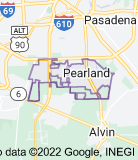 Map of Pearland, Texas