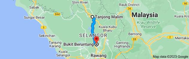 Map from Tanjong Malim, Perak, Malaysia to Bukit Beruntung, Rawang, Selangor, Malaysia