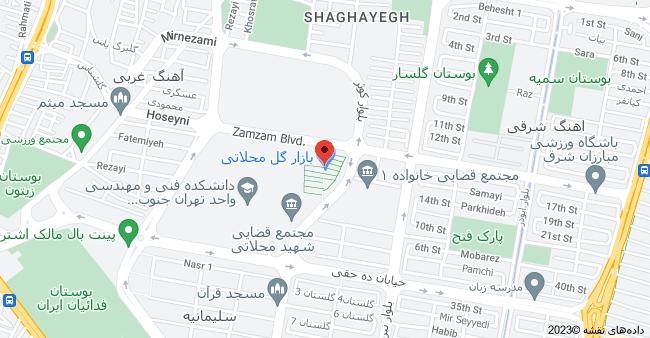 نقشه استان تهران، تهران، بلوار کوثر، بازار گل