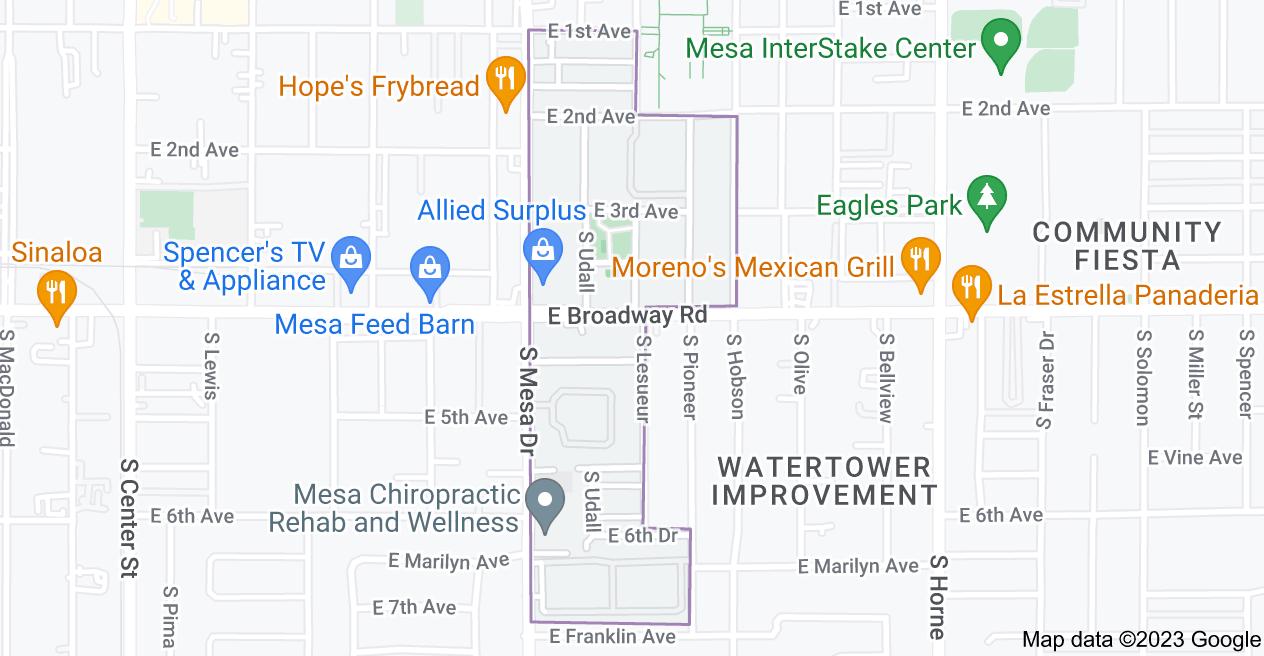 Map of Temple Historic District, Mesa, AZ