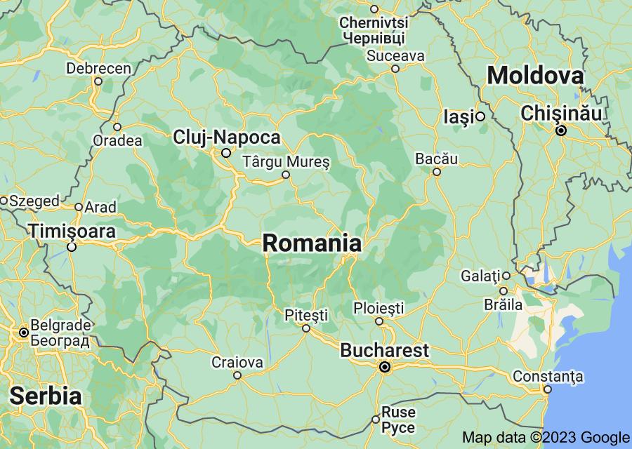 Location of Romania