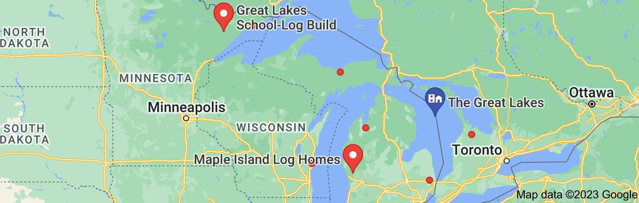 Map of Great lakes log homes