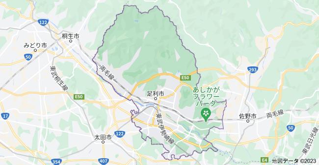 栃木県足利市の地図