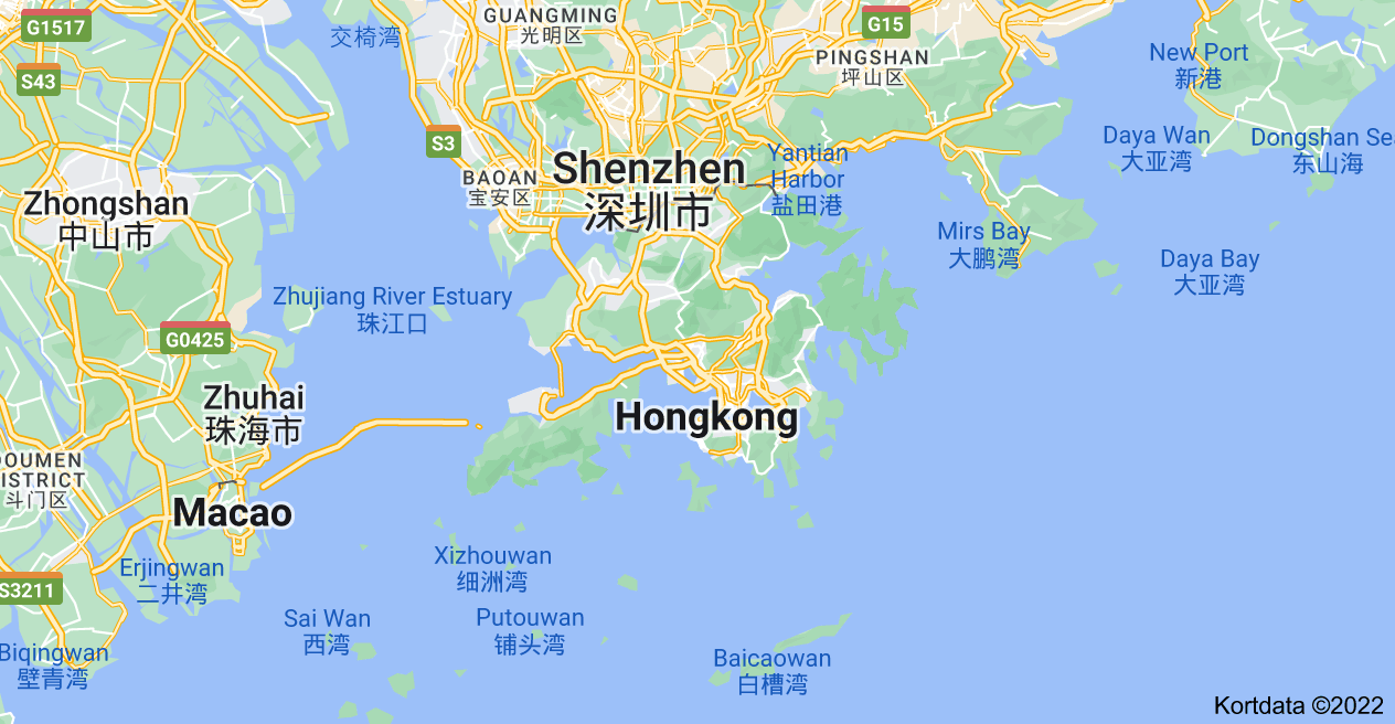 Kort over Hong Kong