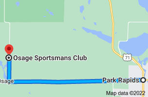 Map from Park Rapids, Minnesota 56470 to Osage Sportsmans Club, 25315 County Road 48, Osage, MN 56570