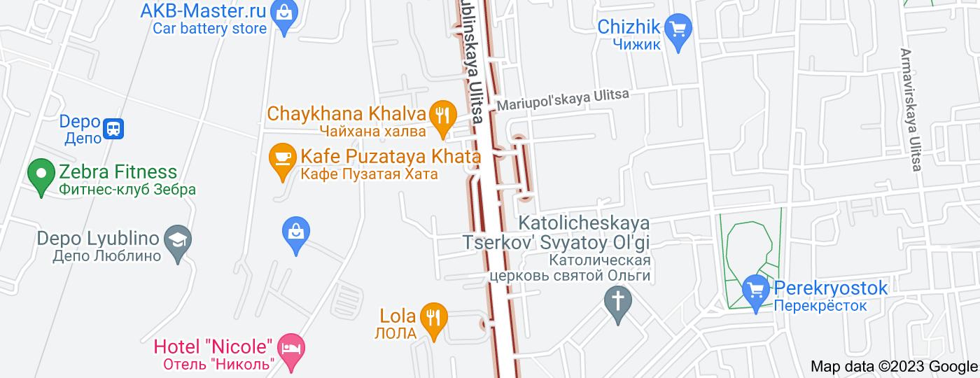 Location of Lyublinskaya Ulitsa