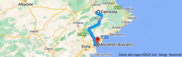 Mapa de Carrícola, 46869, Valencia a Alicante (Alacant), Alicante