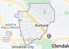 Map of Burbank, California