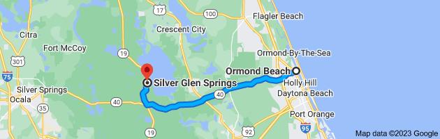 Map from Ormond Beach, Florida to Silver Glen Springs, Florida 32134