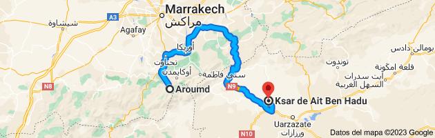 Mapa de Aroumd, Marruecos a Ksar de Ait Ben Hadu, Marruecos
