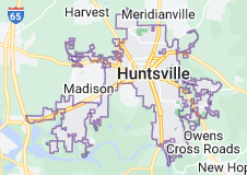 Map of Huntsville, Alabama