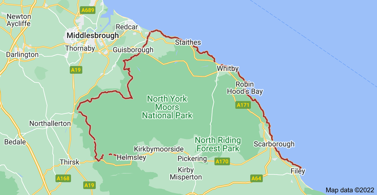 Map of Cleveland Way, United Kingdom