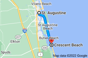 Map from St Augustine, Florida to Crescent Beach, Florida 32080