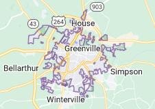 Map of Greenville, North Carolina