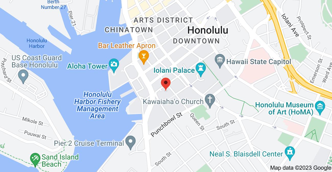 Map of 345 Queen St #608, Honolulu, HI 96813