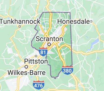 Map of Lackawanna County