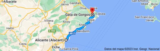 Mapa de Alicante (Alacant), Alicante a Gata de Gorgos, 03740, Alicante