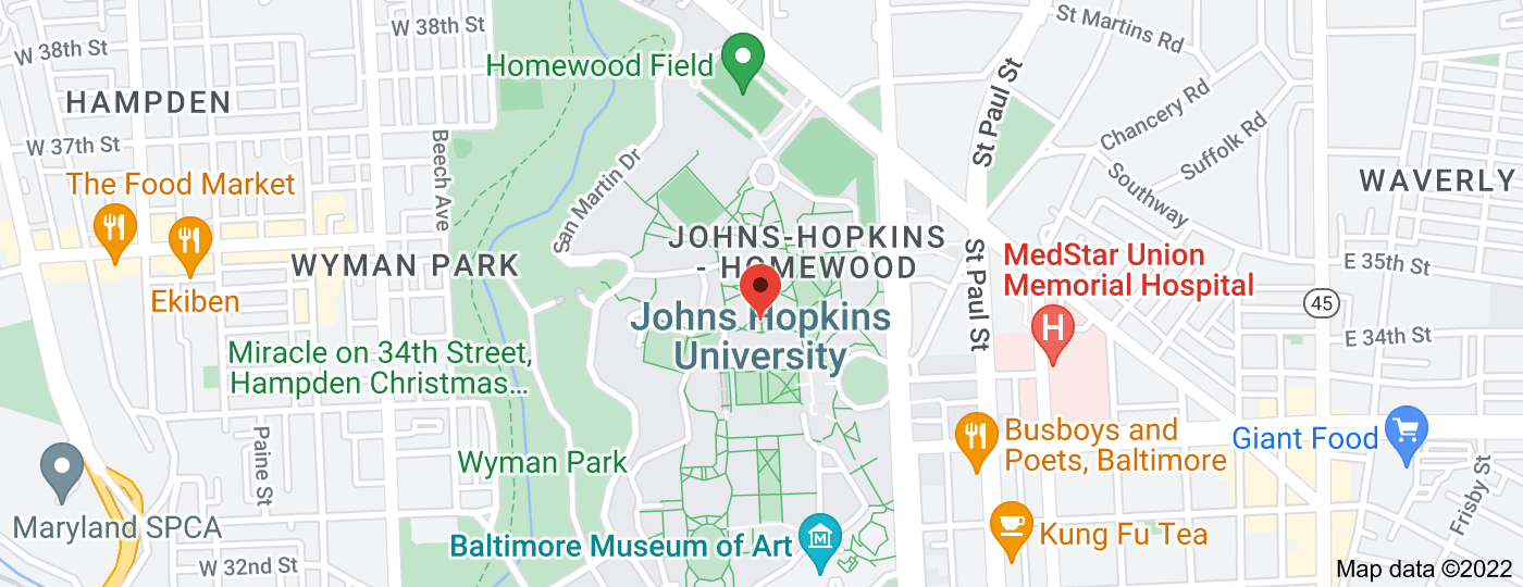 Location of Johns Hopkins University