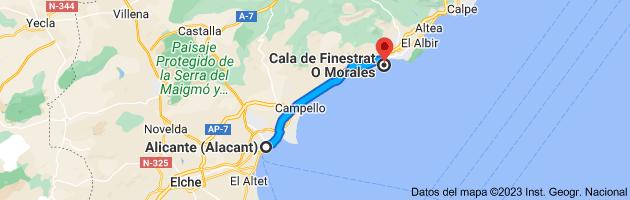 Mapa de Alicante a Cala de Finestrat O Morales, 03509