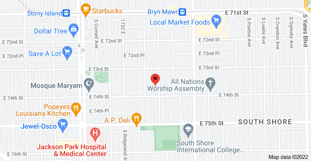 Map of 7342 S Bennett Ave, Chicago, IL 60649