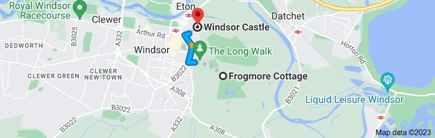 Map from Frogmore Cottage, Windsor SL4 2JG, UK to Windsor Castle, Windsor SL4 1NJ, UK