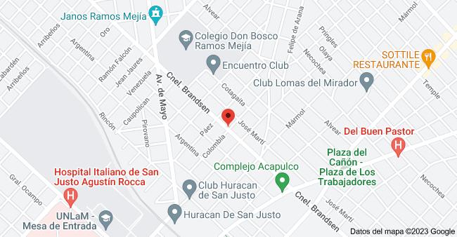 Mapa de Coronel Brandsen & Colombia, Ramos Mejía, Buenos Aires