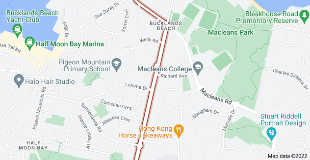 Location of Bucklands Beach Road