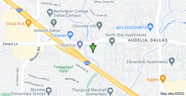 Map of 9550 Forest Ln, Dallas, TX 75243