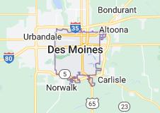 Map of Des Moines, Iowa